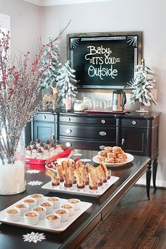 """Tips to Make Holiday Entertaining Stress Free Beautiful Christmas party set up. I love the """"Baby It's Cold Outside"""" Sign Christmas party set up. I love the """"Baby It's Cold Outside"""" Sign Christmas Brunch, Christmas Breakfast, Noel Christmas, Christmas Morning, Winter Christmas, Christmas Entertaining, Christmas Signs, Christmas Baby Shower, Christmas Party Decorations"""