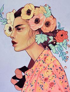 """""""Red Eye"""" - Kelsey Beckett, acrylic, 2016 {figurative art beautiful female head profile flowers woman face portrait painting #loveart} kelseybeckett.com"""