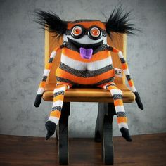 Unique OOAK handmade gifts by MimisHaven on Etsy Monster Crafts, Felt Monster, Monster Dolls, Couch Monster, Sock Toys, Sock Crafts, Sock Animals, Clay Animals, Unique Crochet
