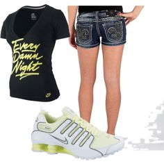 """""""every damn night"""" nike shirt, miss me shorts, and nike shox! Miss Me Outfits, Summer Outfits, Summer Clothes, Air Max Sneakers, Sneakers Nike, Miss Me Shorts, Love Shirt, Nike Shox, Nike Free Shoes"""