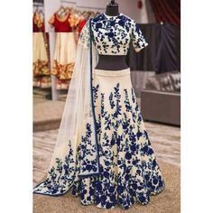 ,cream ,navyblue ,embroidery ,floral ,lehenga ,semi_stitched ,bhagalpurisilk ,machinework  http://indiarush.com/bhagalpuri-silk-machine-work-cream-n-navy-blue-semi-stitched-lehenga-dg-nb/