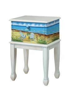 Hand Painted Traditional Shoreline Adirondack Accent End Table | eBay