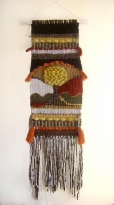 telar arbol amarillo telar tapiz mural lana oveja,fibras naturales telar de bastidor