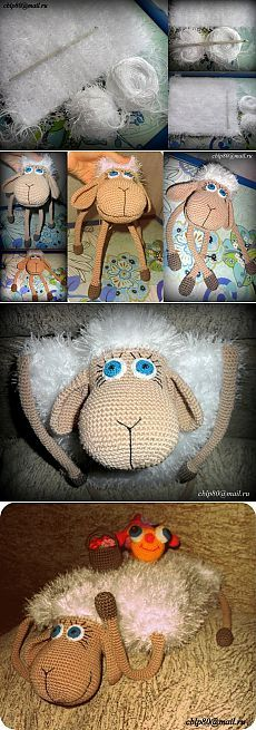 Вязаная подушка-игрушка Овечка крючком | Амигурумик
