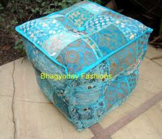 India Patchwork Ethnic Embroidery FootStool Chair Ottoman Pouf Vtg MoroccanCover