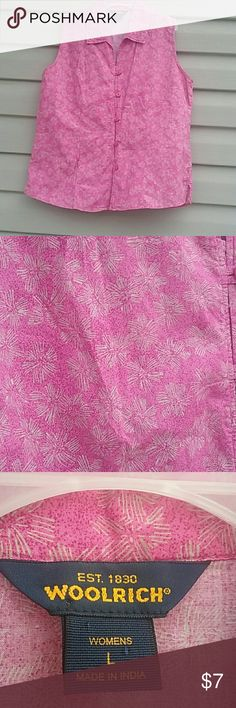 Woolrich top Excellent used condition very cute pink sleeveless button down top size L Woolrich Tops