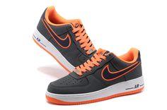 Nike Air Force 1 Schoenen Heren DonkerGrijs Wit Oranje