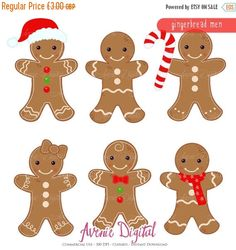 SALE Gingerbread man Clipart Scrapbook printables by AvenieDigital