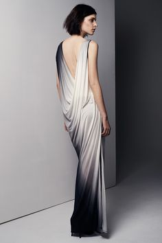 Beautiful colour gradient as the gown sweeps the floor (Helmut Lang A/W 2013)