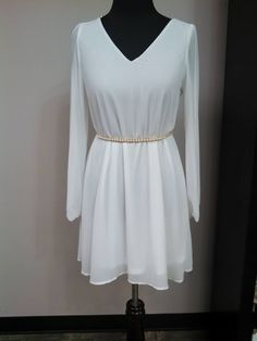 White chiffon long sleeved cocktail dress with a gold/pearl belt. #shopRFW