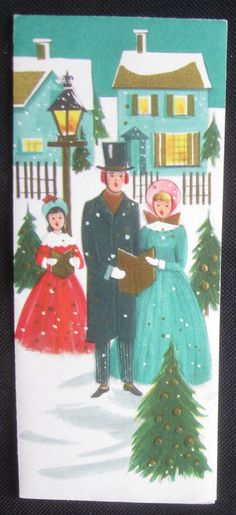 Vintage Christmas Greeting Card Carols Song Mid Century Forget Me Not