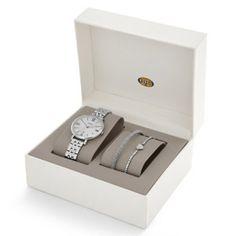 Jam Tangan Original Fossil Jacqueline Three-Hand Date Stainless Steel and Bracelet Set ES3698