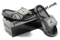 0e9104415096bf Cheap Air Jordans 5 Massage Slippers Grey White Black Jordans