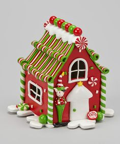 Red LED Gingerbread House Sculpture