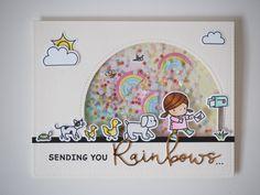 #shakercard #mamaelephant #sundaystroll #waffleflower #rainbows #post #handmadecard