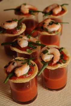 mini shrimp cocktail tacos with spicy vegetable juice shot.  Or make it a Bloody Mary!