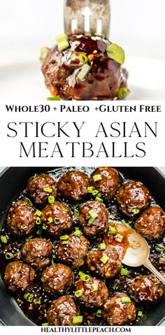 Sticky Asian Meatballs Keto, Paleo) - Healthy Little P.- Sticky Asian Meatballs that are whole paleo, gluten free and clean eating Beef Recipes, Whole Food Recipes, Cooking Recipes, Healthy Recipes, Asian Food Recipes, Paleo Food, Gluten Free Recipes Asian, Gluten Free Chinese Food, Healthy Chinese Recipes