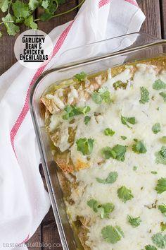 Garlicky Bean and Chicken Enchiladas on Taste and Tell