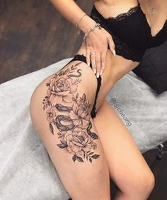50 Gorgeous And Sexy Hip Thigh Floral Tattoo Designs You Will Love - Page 15 of Flower Hip Tattoos, Hip Thigh Tattoos, Floral Thigh Tattoos, Sexy Tattoos, Body Art Tattoos, Dragon Thigh Tattoo, Female Hip Tattoos, Small Hip Tattoos Women, Rose Tattoo On Hip