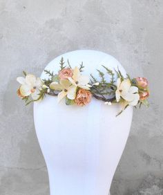 Bridal Flower Crown Flower Girl Crown by MoonflowerNatureArt