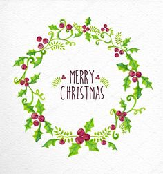 Merry christmas watercolor holly berry wreath card vector - by cienpies on VectorStock - Merry Christmas Calligraphy, Merry Christmas Vector, Merry Christmas Wishes, Christmas Images, Christmas Signs, Christmas Art, Christmas Wreaths, Christmas Decorations, Nail Noel