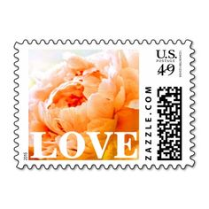 Personalizable / customizable, orange and peach peony LOVE postage stamps can be ordered as is (with LOVE text) or customized with your own text, couple's names, special date, etc. in your favorite font(s) and colors. Available horizontal or vertical, in a variety of postage denominations, and matching items (invitations, stickers, favors, etc). #peonies #stamps #peony #orange
