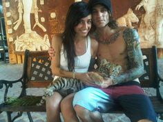Lights Poxleitner & Beau Bokan - Lights & BlessTheFall. Also a tiger. :)  Utterly normal.