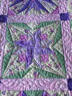LeAnn's Block, part of sampler quilt. Fourth row from top, third from left.  Paper pieced .