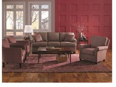 The Cabin Sofa, Times Square chair on right and Mayflower Chair on left.  All by Rowe.