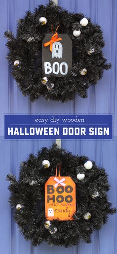 Easy DIY Wooden Halloween Door Sign! Perfect as a decoration for the season, but it can also be used to tell Trick-Or-Treaters there is no candy left! | saynotsweetanne.com | #ad @LCpintrest
