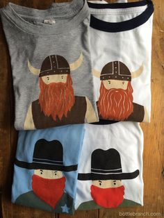 viking and cowboy t shirts on bottlebranch.com,  handprinted Silkscreen, Tea Towels, Etsy Store, Vikings, Art Ideas, Crafts For Kids, Bottle, Prints, Blog