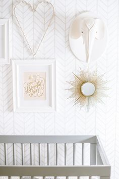 Nursery for Two: Chic gold nursery wall decor from a custom nursery designed for twins!