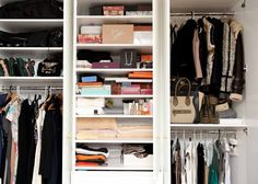 When I moved into my new apartment, closet (particularly accessories) space was of key importance. I dedicated a section of the wardrobe in my dressing area to jewelry and smaller accessories so I can open a drawer and see everything. I'm usually dressing in a hurry, so I like everything laid out in clear view so I can see all of the options, grab, and go!