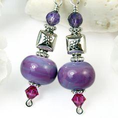 Purple Lampwork Amethyst Earrings Fuschia Crystal Sterling Silver OOAK | PrettyGonzo - Jewelry on ArtFire