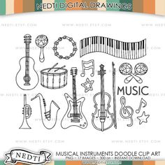 Musical Instruments Doodle Clip Art set PNG Instant by Nedti