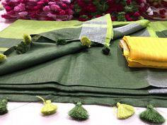 Pure Linen Saree: ₹ Free COD _Simplicity is beautiful, adorn these Beautiful Women's Sarees. Be Beautiful! Saree Kuchu Designs, Bandhani Saree, Indian Designer Suits, Elegant Fashion Wear, Dupion Silk, Linen Blouse, Cod, Sarees, Cool Style