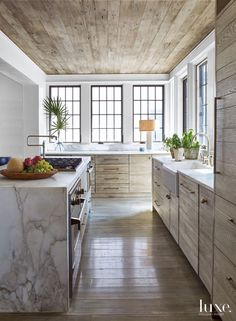 Kitchen Modern Rustic limed oak kitchen cabinets - rift sawn oak plank cabinets in a