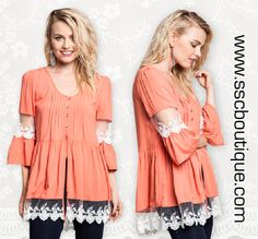 Delicate and stunning, our bell sleeve button top will carry you into the season in perfect style! Only $36.50! S,M,L! Click link to order now!  http://www.sscboutique.com/collections/new-arrivals/products/bell-sleeve-lace-off-white-top  #lace #bellsleeve #salmon #offwhite #shop #love