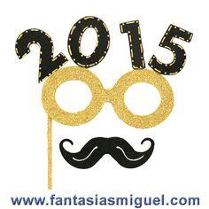 Antifaz Decorado Con Lentes Y Bigote Celebración Año Nuevo 2015, Negro Oro.