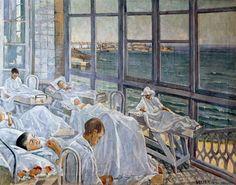 Baño de Luz; 1923 .Pintor: Seijo Rubio. Sanatorio Marítimo de Oza (A Coruña)