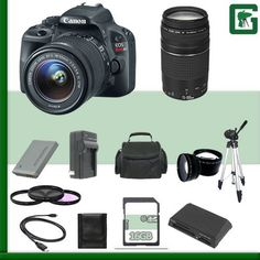 Canon EOS Rebel SL1 Digital SLR Camera Kit with 18-55mm STM Lens and Canon EF 75-300mm III Lens + 16GB Green's Camera Package. Package Includes 20 Products - All with USA Warranty and Manufacture Supplied Accessories. 18.0 Megapixel CMOS (APS-C) sensor, ISO 100-12800 (expandable to H: 25600) for stills and ISO 100-6400 (expandable to H: 12800) for videos for shooting from bright to dim light, and high performance DIGIC 5 Image Processor for exceptional image quality and speed. High speed...