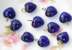 #691 Vintage Glass Hearts Dangles Charms Heart Drops cobalt Blue Puff NOS Rare   | eBay