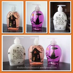 DIY Halloween Soaps using stickers or vinyl.
