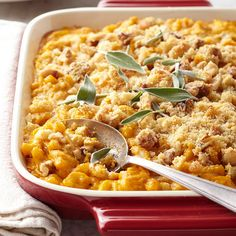 Pumpkin and Sage Mac & Cheese from Better Homes & Gardens. (I would probably add bacon.) Here's a mac and cheese that veers off the beaten path! The pumpkin adds moisture and an irresistibly earthy flavor to the easy casserole recipe. Macaroni N Cheese Recipe, Cheese Recipes, Pasta Recipes, Cooking Recipes, Mac Cheese, Fontina Cheese, Macaroni Pasta, Cheese Bread, Cooking Tips