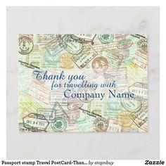 Passport stamp Travel PostCard-Thank you Postcard | Zazzle.com