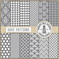 Gray Digital Paper -  http://etsy.me/2b7H7Gr Set of 12 gray digital papers with gray and white damask, polka, arrows, quaterfoil and shell pattern.