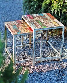 """Die Beistelltische """"Agra"""" im angesagten Shabby-Chic sind besonders praktisch ! Die zwei unterschiedlich großen Tische können untereinander gestapelt werden und sparen somit jede menge Platz. Ein frischer bunter Farbmix von Türkis – Grün – Rot Gelb und Weiss erfrischen jeden Raum. Sie erhalten im Set beide Tische, wie abgebildet. Beide, Agra, Home Living, Bunt, Terrarium, Shabby, Home Decor, Home Decor Accessories, Yellow"""