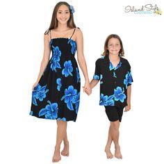 9b1e75f81c Mother   Son matching hawaiian clothing. Ladies Tube Dress and boys  hawaiian shirt. Black