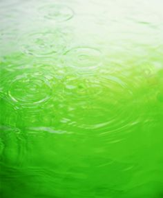Green reflection in water