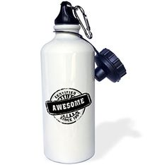 3dRose wb_161677_1 Certified Awesome since 1964funny birthday personal birth year black stampfun humor humorous Sports Water Bottle 21 oz White * Check out the image by visiting the link.